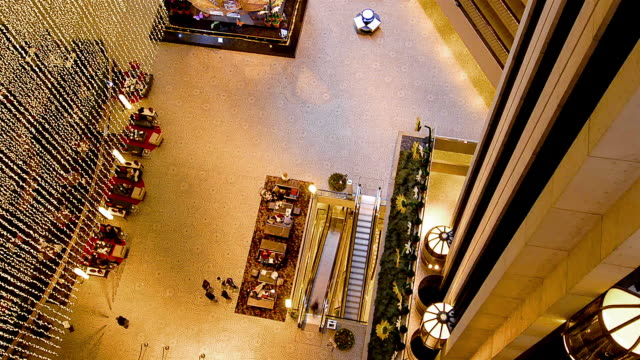 wa t/l people walking and elevators moving in busy hotel lobby in san francisco / san francisco, california, usa - lobby stock videos & royalty-free footage
