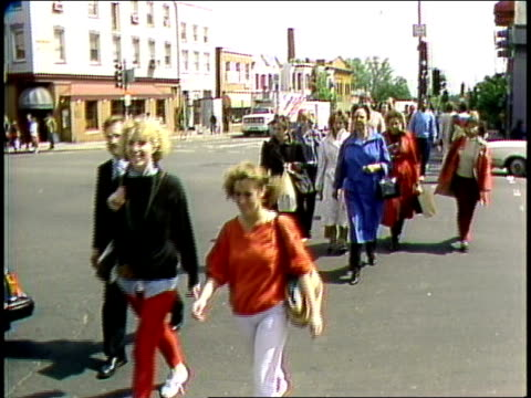 people walking around intersection in washington dc - 1985 stock videos & royalty-free footage