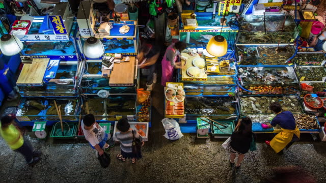 people walking around the noryangjin fisheries wholesale market(tourist attractions) - fish market stock videos and b-roll footage