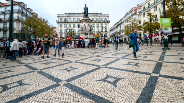 t/l people walking at downtown lisboa, portugal - lisbon stock videos and b-roll footage