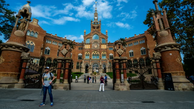 t/l people walking at hospital de sant pau, barcelona, spain - square stock videos & royalty-free footage