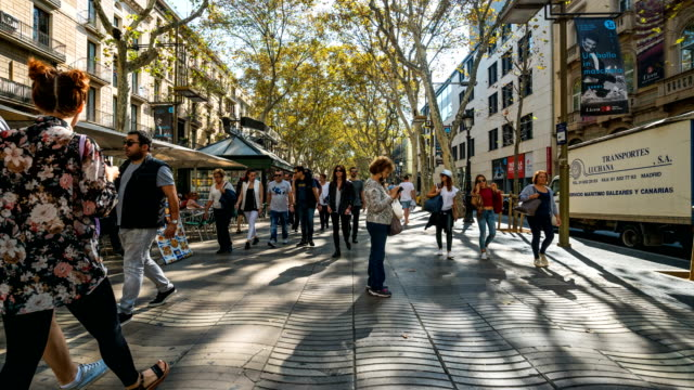 T/L People walking at La Rambla,Barcelona, Spain