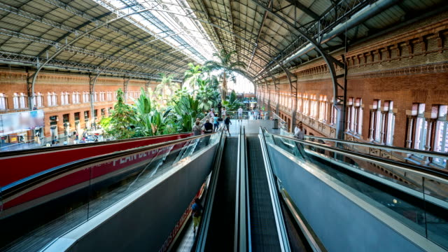 T/L People walking at Madrid Atocha Railway Station, Spain