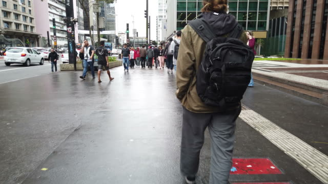 people walking at paulista avenue. - brazil stock videos & royalty-free footage