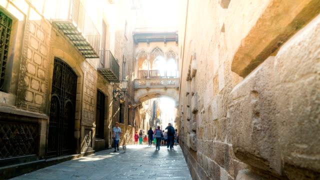T/L People walking at Pont del Bisbe,Barcelona, Spain