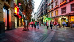 T/L People walking at Puerta del Sol,Madrid, Spain