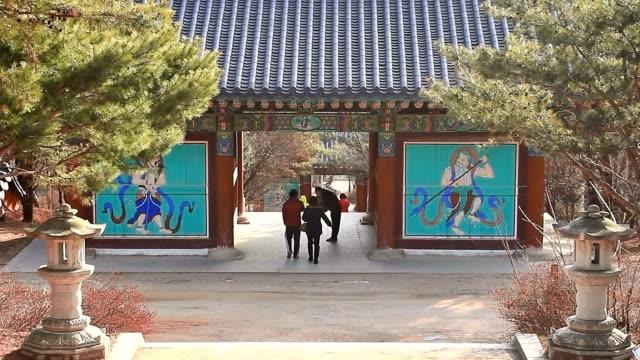 ms zi people walking at sudeoksa temple / yesan, chungcheongnamdo, south korea - 史跡めぐり点の映像素材/bロール