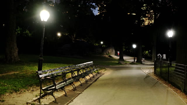 people walking, benches and footpath at night in central park a - central park manhattan stock-videos und b-roll-filmmaterial