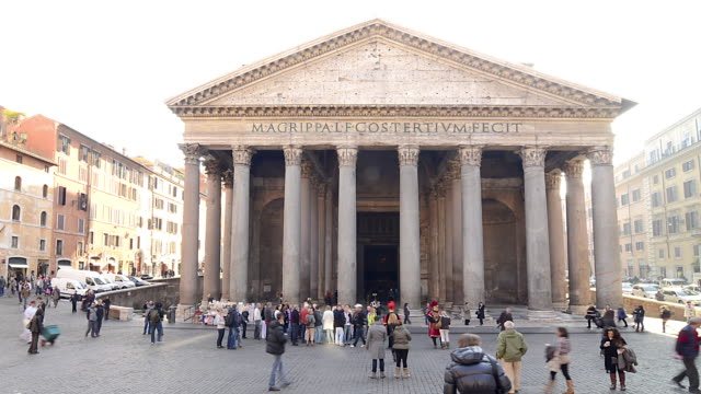 wa t/l people walking by the pantheon/rome,italy - pantheon rome stock videos and b-roll footage