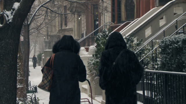 vídeos y material grabado en eventos de stock de ws people walking during snow / new york city, new york, usa - casa de ladrillo