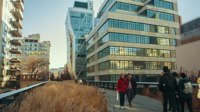 Mensen lopen High line park New York time-lapse