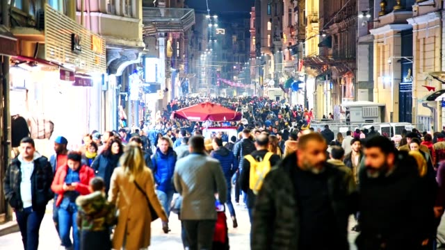 people walking in a busy street in istanbul - istanbul province stock videos & royalty-free footage