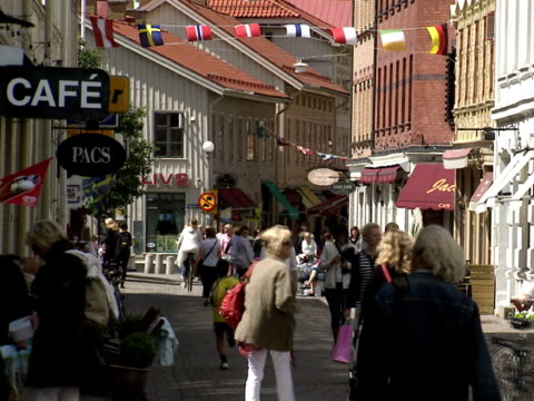 People walking in a street in Gothenburg Sweden.