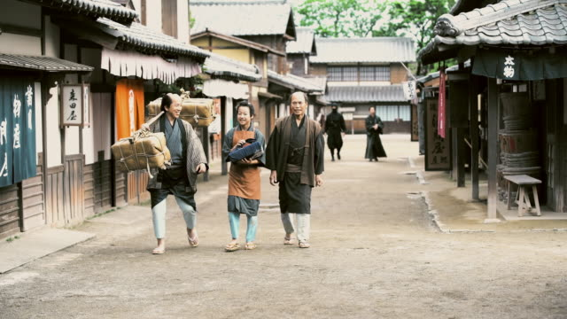 ds people walking in ancient japan village - samurai stock videos & royalty-free footage