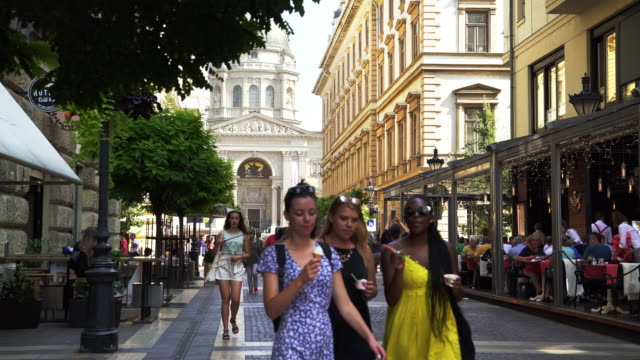 people walking in budapest zrínyi utca - pedestrian zone stock videos & royalty-free footage