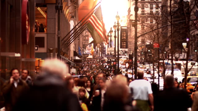 people walking in busy street of manhattan - nyc stock videos and b-roll footage