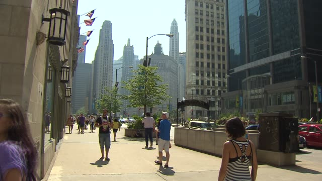 People Walking In Downtown Chicago on September 27 2013 in Chicago Illinois