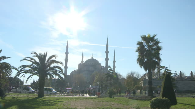 People walking in front of mosque, Istanbul, Turkey