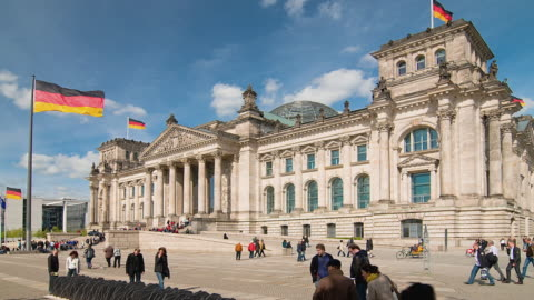 t/l ws zo people walking in front of reichstag and memorial to the 96 reichstag members of the opposition parties killed by the nazis / berlin, germany - pedestrian zone stock videos & royalty-free footage