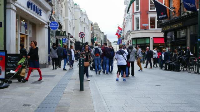 People Walking In Grafton Street In Dublin