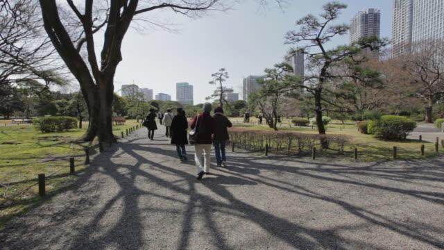 people walking in hamarikyu gardens - satoyama scenery stock videos & royalty-free footage