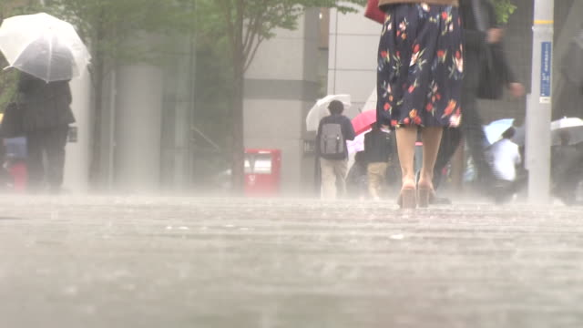 people walking in heavy rain, yokohama, japan - 集中豪雨点の映像素材/bロール