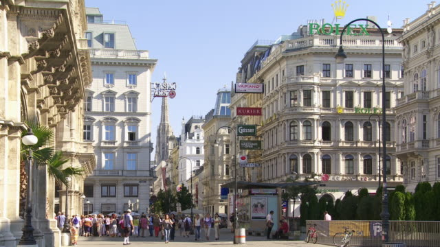 people walking in kaerntner strasse (carinthian street) in vienna - vienna austria stock videos & royalty-free footage