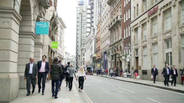 people walking in london cornhill - city of london stock videos & royalty-free footage