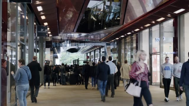 people walking in london shopping arcade - shopping centre stock videos & royalty-free footage