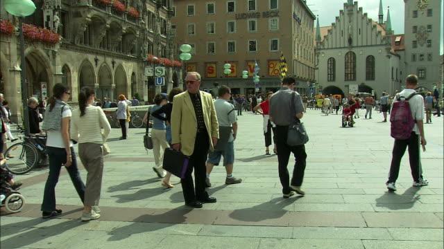 WS People walking in Marienplatz, Munich, Bavaria, Germany