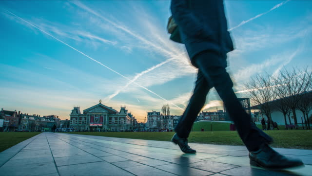 people walking in park amsterdam time lapse - silvestre stock-videos und b-roll-filmmaterial