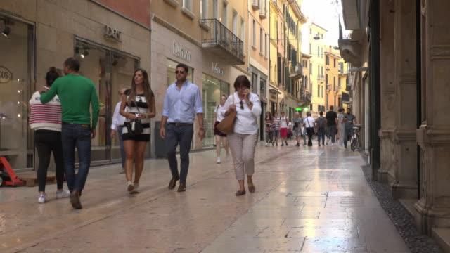 People walking in pedestrian zone