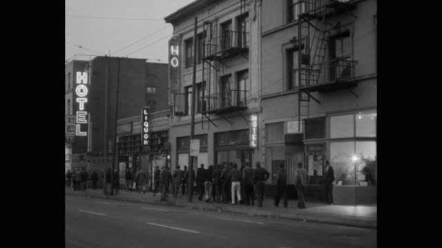 people walking in queue for soup kitchen, skid row, los angeles, california, usa - soup kitchen stock videos & royalty-free footage