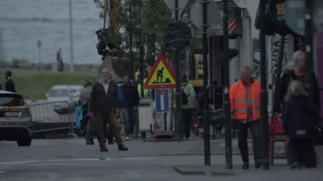 people walking in reykjavik city street - reykjavik stock videos and b-roll footage