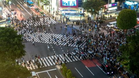 people walking in shibuya crossing at night - shibuya ward stock videos & royalty-free footage