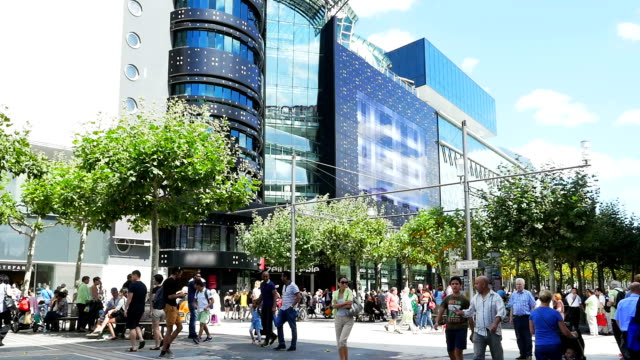 t/l people walking in shopping street - shopping centre stock videos & royalty-free footage
