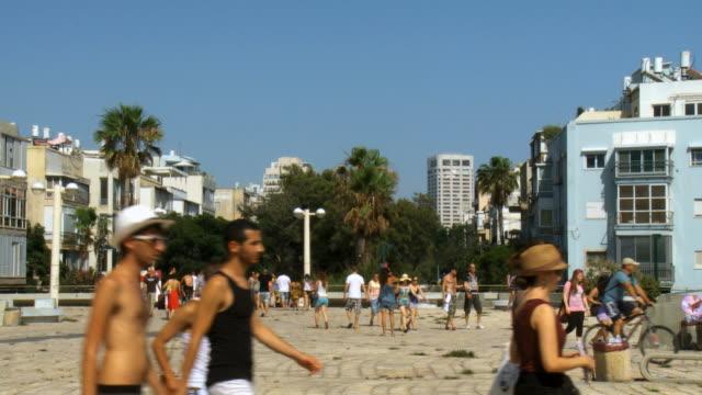 ws people walking in street /  tel aviv,israel - tel aviv stock videos & royalty-free footage