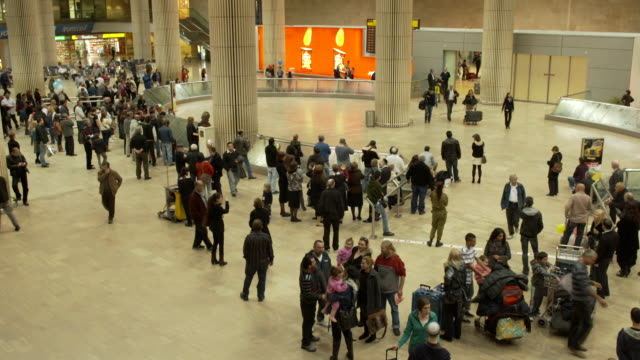 people walking in the airport terminal, croud, fast motion