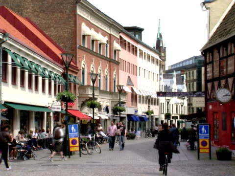 People walking in the centre of Malmo Sweden.