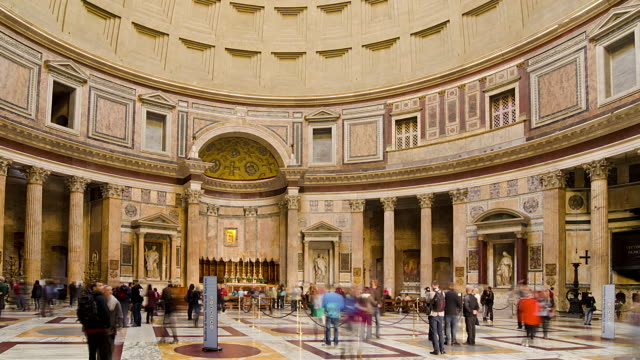 wa t/l zo td people walking in the pantheon/rome,italy - pantheon rome stock videos and b-roll footage
