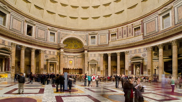 wa t/l people walking in the pantheon/rome,italy - pantheon rome stock videos and b-roll footage