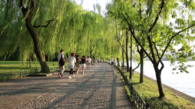 People walking in the shadows of willow trees on the shores of the West Lake in summer,Hangzhou,China