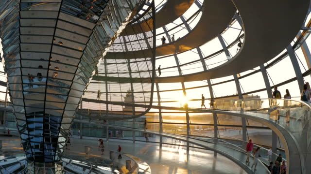 people walking inside Reichstag at Sunset,WS
