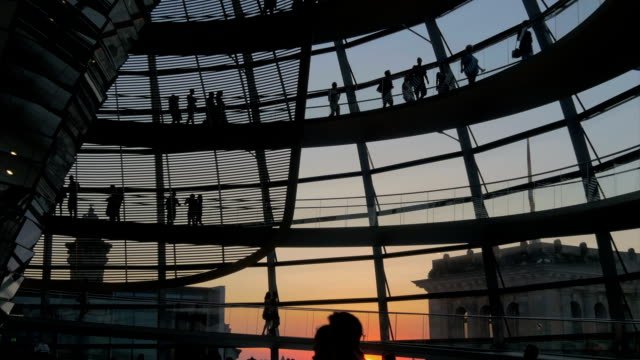 people walking inside Reichstag,evening time,MS