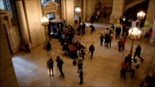 people walking into the new york central library - lobby stock videos & royalty-free footage
