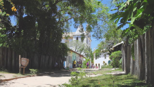 ws people walking near 18th century renovated portuguese village / porto seguro, bahia, brazil - porto seguro stock videos & royalty-free footage