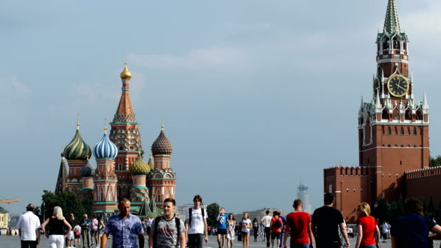 people walking near red square/ moscow, russia - russian culture stock videos & royalty-free footage