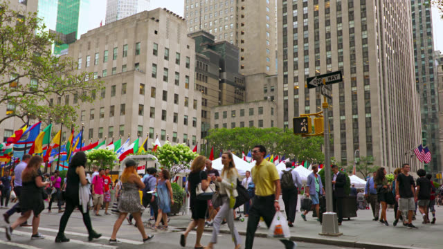 people walking on ave, manhattan, new york - pavement stock videos & royalty-free footage