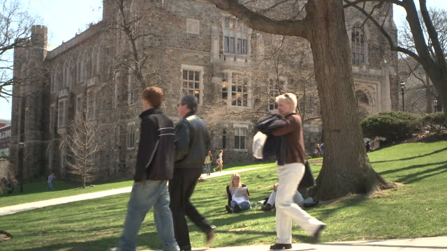 ms people walking on campus paths, three students sitting on lawn, bethlehem, pennsylvania, usa - see other clips from this shoot 1503 stock videos and b-roll footage