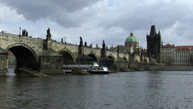 ms people walking on charles bridge near old town / prague, hlavni mesto praha, czech republic - charles bridge stock videos and b-roll footage
